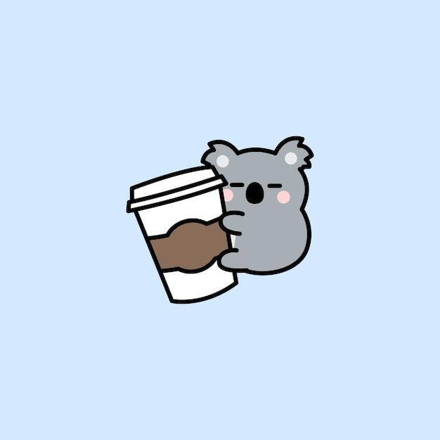 Il koala sveglio ama il fumetto del caffè isolato sull'azzurro Vettore Premium