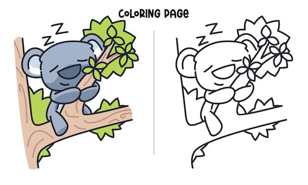 Koala sveglio che dorme sul ramo di albero. pagina da colorare stampabile e libro da colorare Vettore Premium