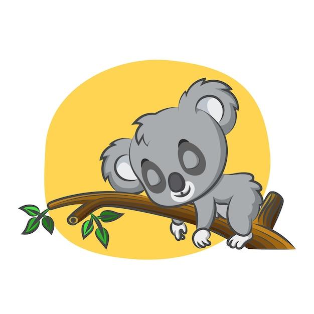 Carino koala che dorme in giornata sul ramo di un albero Vettore Premium