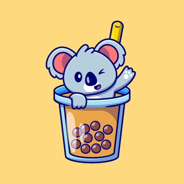 Koala sveglio che fluttua nel fumetto della tazza di tè del latte di boba Vettore Premium