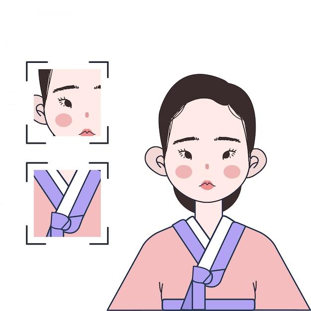 Ragazza carina coreana con costume tradizionale Vettore Premium