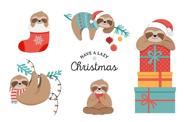 Simpatici bradipi pigri, divertenti illustrazioni di buon natale con costumi di babbo natale Vettore Premium