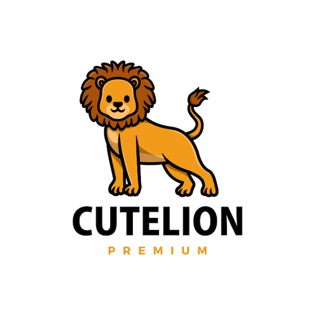 Illustrazione sveglia dell'icona di logo del fumetto del leone Vettore Premium