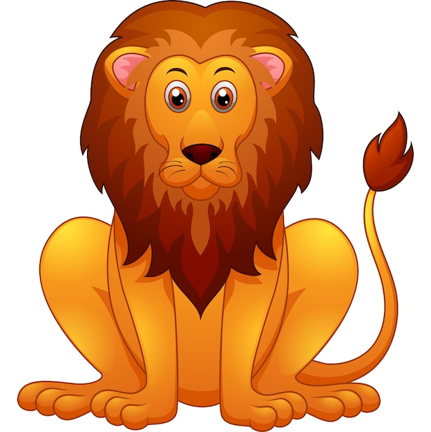 Cartone animato carino leone Vettore Premium