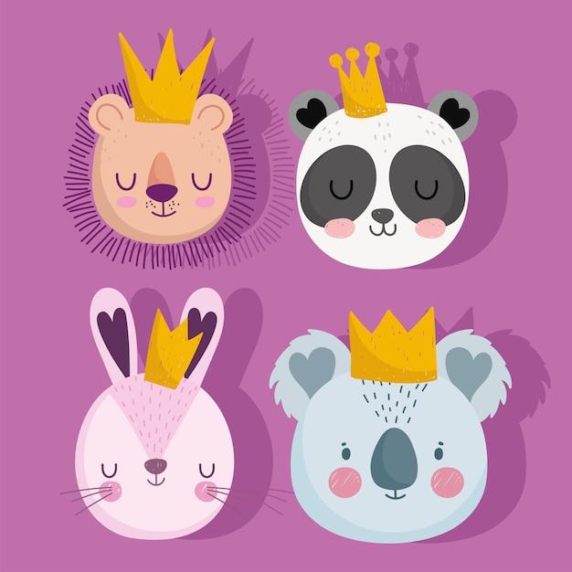 Simpatico leone panda coniglio e koala con corone animali affronta insieme del fumetto Vettore Premium