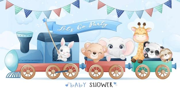 Piccoli animali svegli che si siedono nel treno con l'illustrazione dell'acquerello Vettore Premium