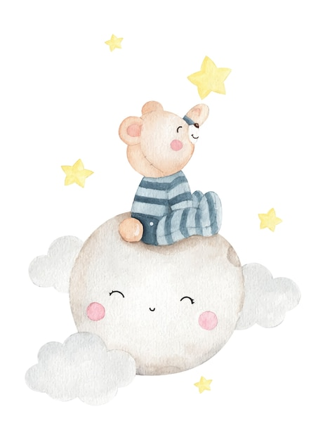 Illustrazione dell'acquerello dell'orso piccolo sveglio Vettore Premium