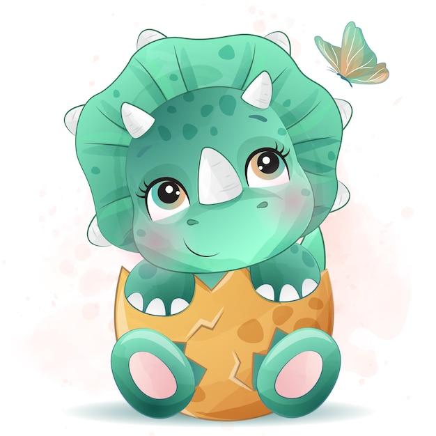Carino piccolo ritratto di dinosauro con effetto acquerello Vettore Premium