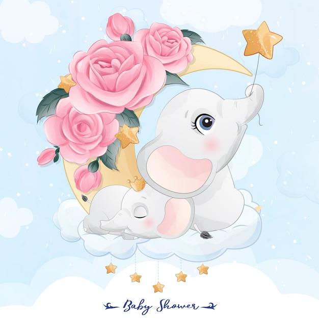 Piccola madre e fare da baby-sitter svegli dell'elefante nell'illustrazione della luna Vettore Premium
