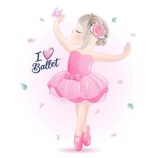 Ballerina sveglia della bambina con l'illustrazione dell'acquerello Vettore Premium