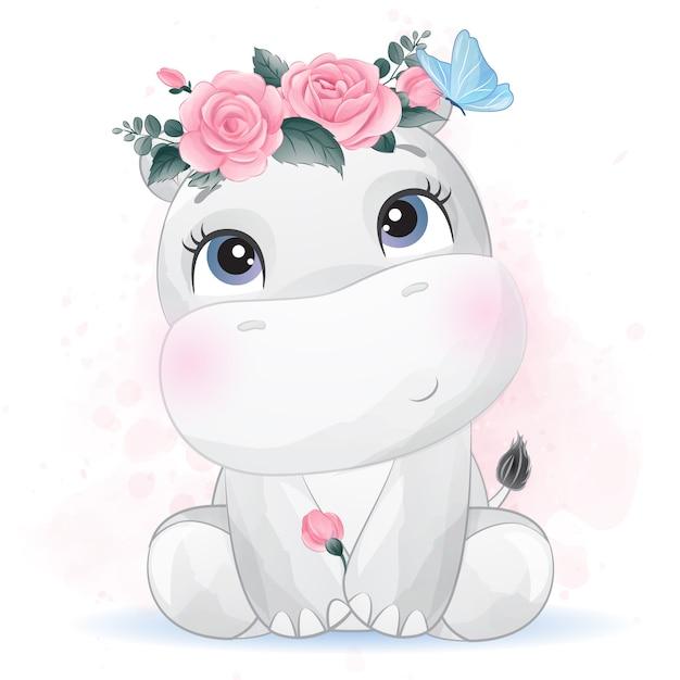 Simpatico ippopotamo con fiore Vettore Premium