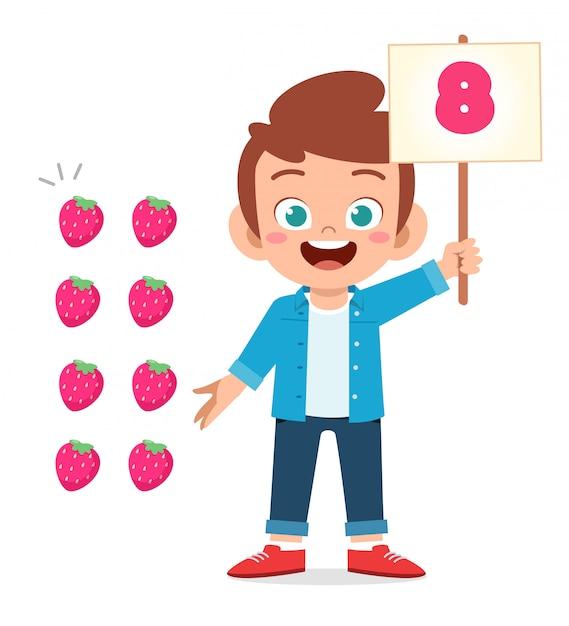 Frutta sveglia di conteggio di numero di per la matematica di studio del ragazzo del bambino Vettore Premium