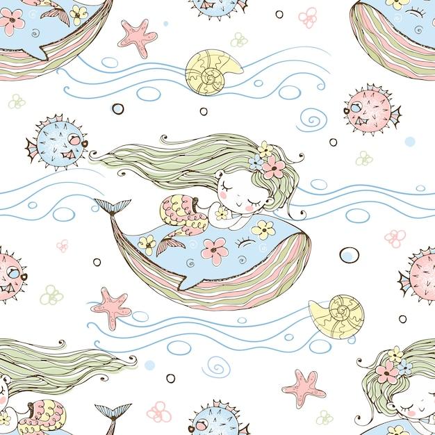 Carina sirenetta che dorme su una balena. Vettore Premium