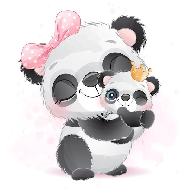 Carino piccolo panda madre e bambino Vettore Premium