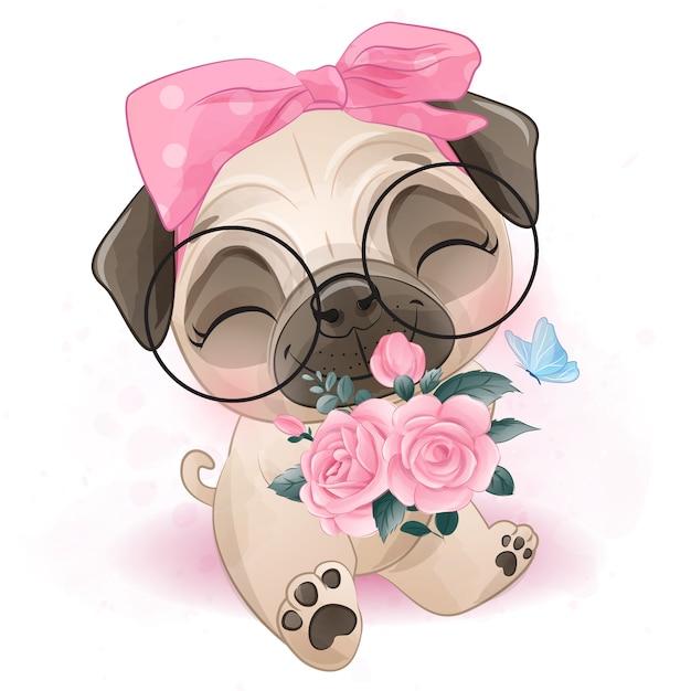 Carlino piccolo sveglio che tiene le rose Vettore Premium