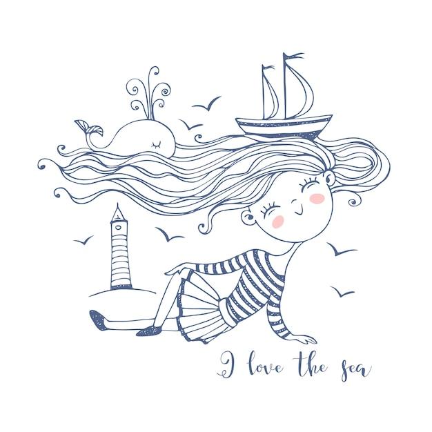 Ragazza carina marinaio. con un oceano di capelli su cui nuotano le navi e una balena. stile doodle. Vettore Premium