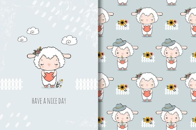 Carta e modello senza cuciture del fumetto delle pecore sveglie. illustrazione disegnata a mano Vettore Premium