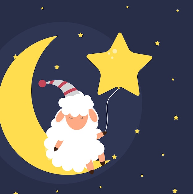 Piccole pecore sveglie nel cielo notturno. sogni d'oro. illustrazione vettoriale. eps10 Vettore Premium