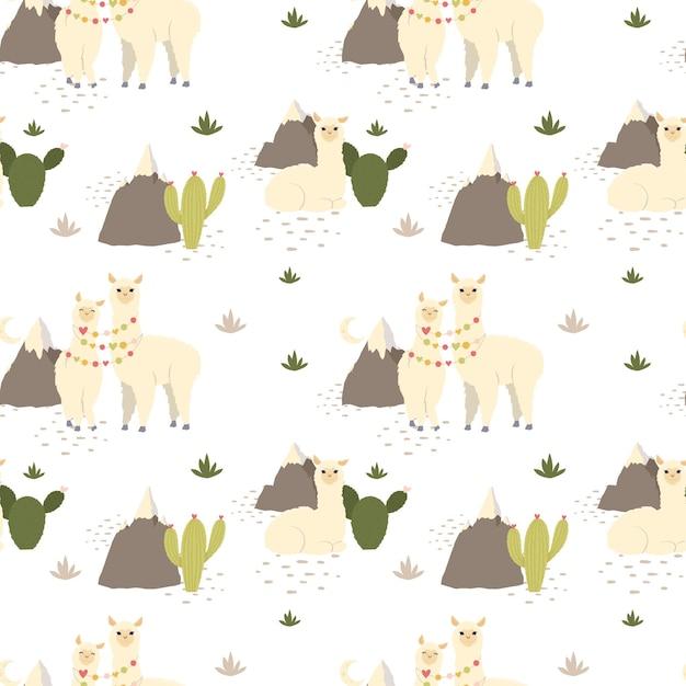 Alpaca lama carino, cactus, montagne senza cuciture. Vettore Premium