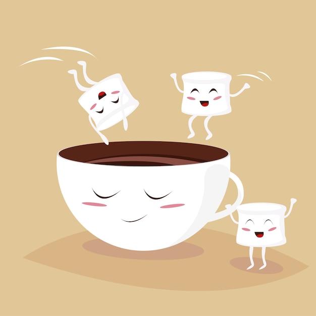 Caramelle gommosa e molle sveglie che saltano nella tazza del cacao di kawaii Vettore Premium