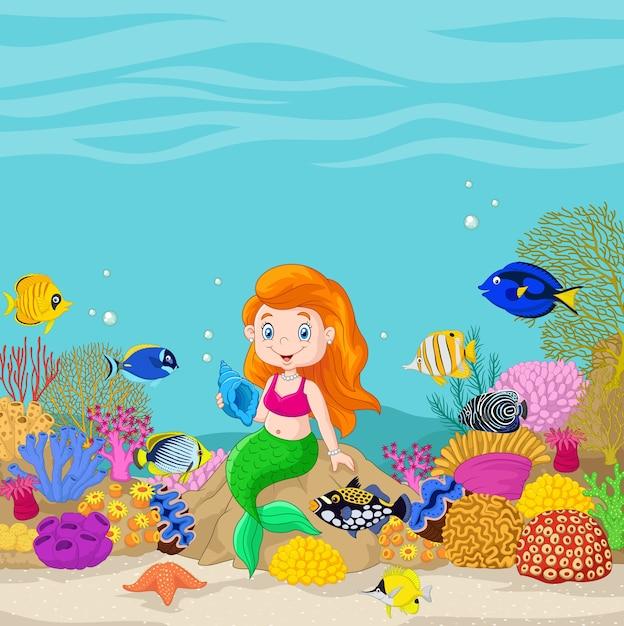 Sirena sveglia che presenta sullo sfondo sott'acqua Vettore Premium