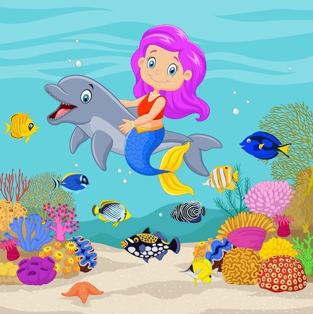 Sirena sveglia con delfino sullo sfondo subacqueo Vettore Premium