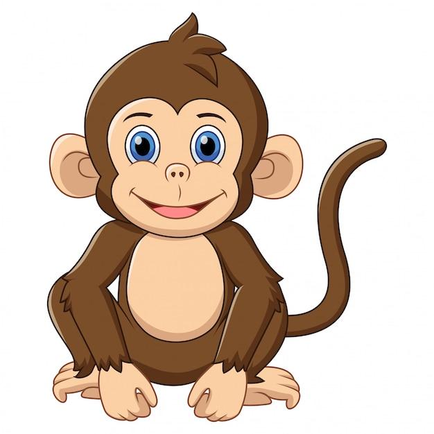 Cartone animato carino scimmia Vettore Premium