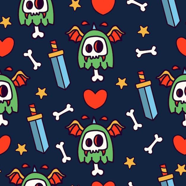 Carino mostro cartoon doodle seamless pattern design Vettore Premium
