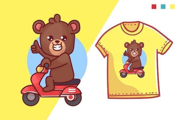 Simpatico modello di t-shirt con orso ciclomotore Vettore Premium