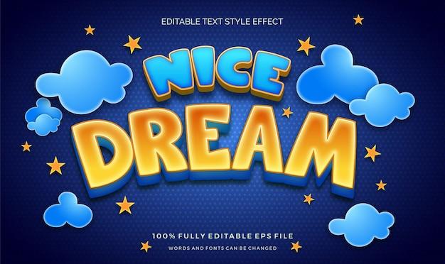 Effetto di stile di testo modificabile per bambini colorati a tema notturno carino Vettore Premium