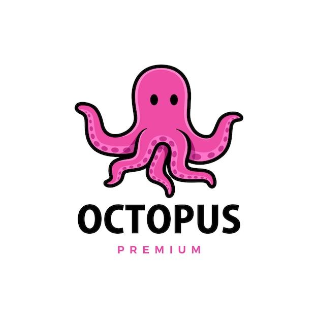 Illustrazione sveglia dell'icona di logo del fumetto del polipo Vettore Premium