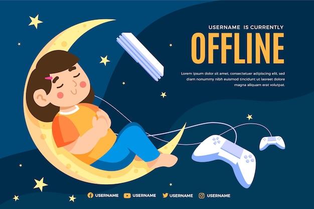 Banner di twitch offline carino con ragazza che dorme Vettore Premium