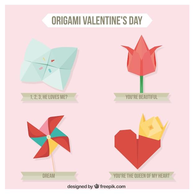 Carino elementi di origami pacchetto Vettore Premium