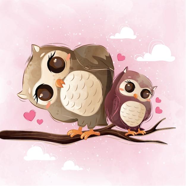 Cute owl mom and child Vettore Premium