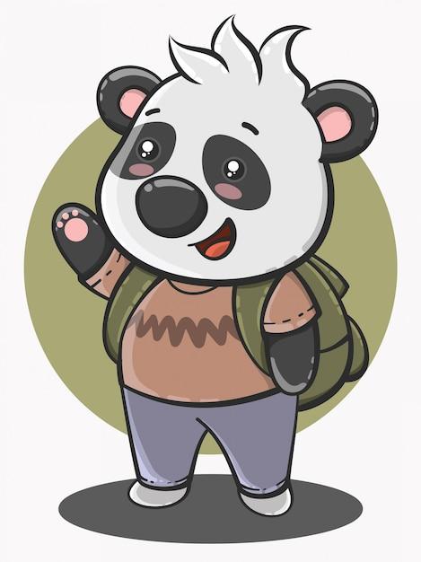 Simpatico cartone animato panda torna a scuola Vettore Premium