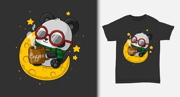 Panda carino godersi il caffè sulla luna. con design t-shirt. Vettore Premium