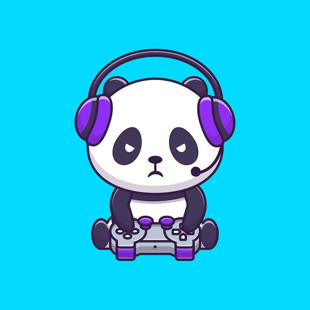 Simpatico panda gaming Vettore Premium