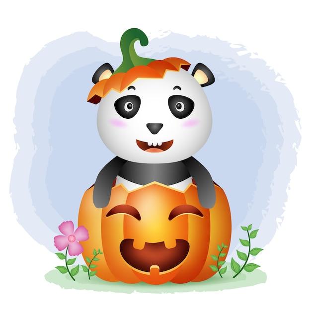Un simpatico panda nella zucca di halloween Vettore Premium