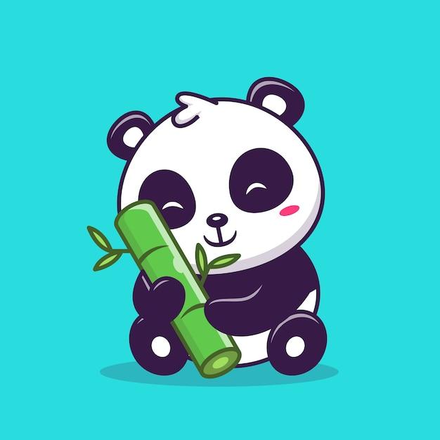 Panda sveglio che si siede e che tiene l'illustrazione dell'icona di bambù. concetto dell'icona di amore animale. Vettore Premium