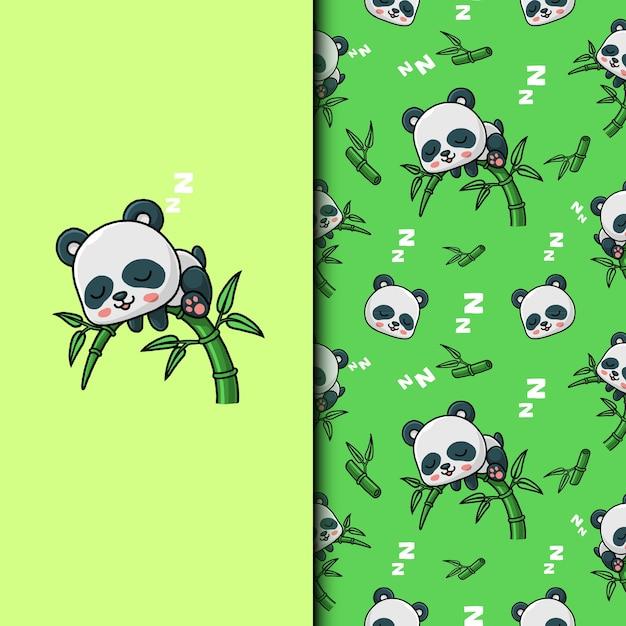 Panda sveglio che dorme sull'albero di bambù. seamless pattern. Vettore Premium