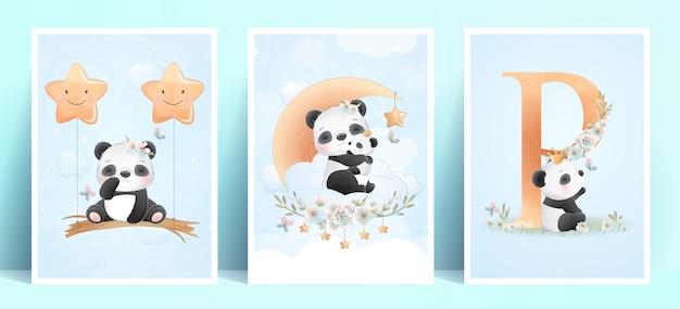 Panda carino con illustrazione floreale Vettore Premium