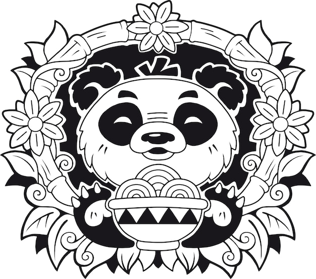 Simpatico panda Vettore Premium