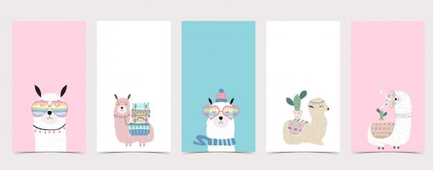 Simpatico sfondo pastello per i social media. set di storia di instagram con lama, alpaca Vettore Premium