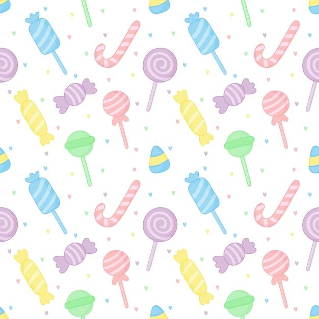 Modello senza cuciture dolci dolci caramelle pastello Vettore Premium