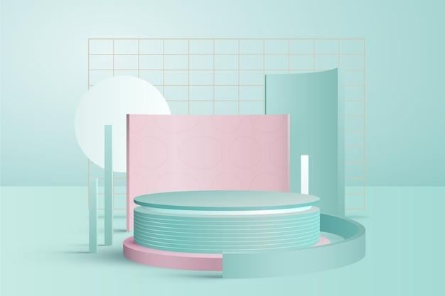 Il podio colorato pastello sveglio con metallo griglia l'effetto 3d Vettore Premium