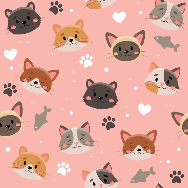 Modello di simpatici animali domestici, gatti diversi Vettore Premium
