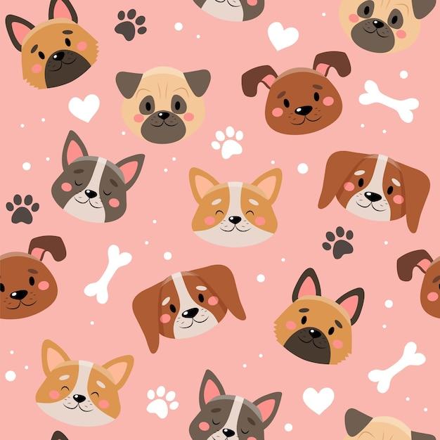 Modello di simpatici animali domestici con cani diversi. Vettore Premium