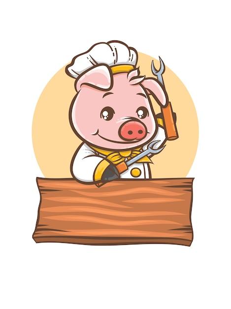 Carino maiale chef barbeque personaggio dei fumetti mascotte Vettore Premium