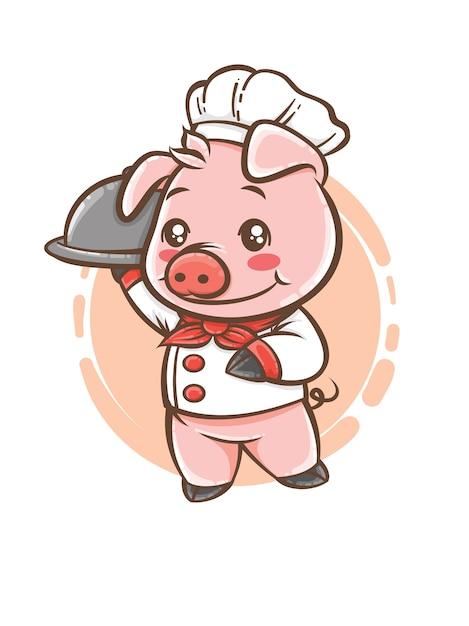 Carino maiale chef personaggio dei cartoni animati mascotte Vettore Premium