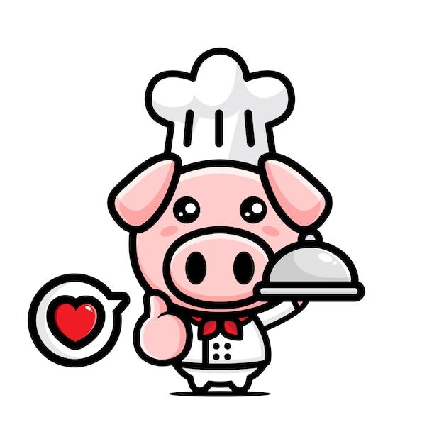 Simpatico personaggio di chef di maiale Vettore Premium